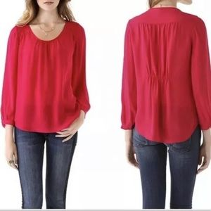 Joie Long Sleeve Blouse Red Silk Pullover